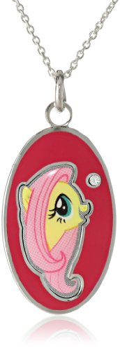 My Little Pony Unisex Fine Silver Plated Crystal Fluttershy Head Oval Dog Tag Pendant Necklace