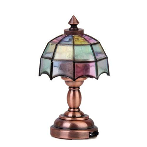 NATFUR Dolls House Miniature Colored Shade Desk Lighting Lamp LED Light w/Battery from NATFUR