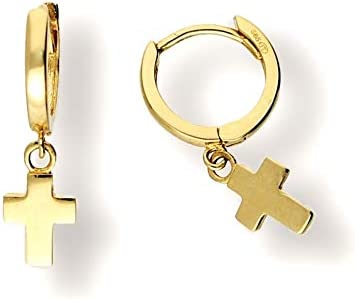 Creolen 585er Gold sch/önes Geschenk f/ür Frauen und M/ädchen 14 Karat mit Anh/änger gr/üner Amethyst