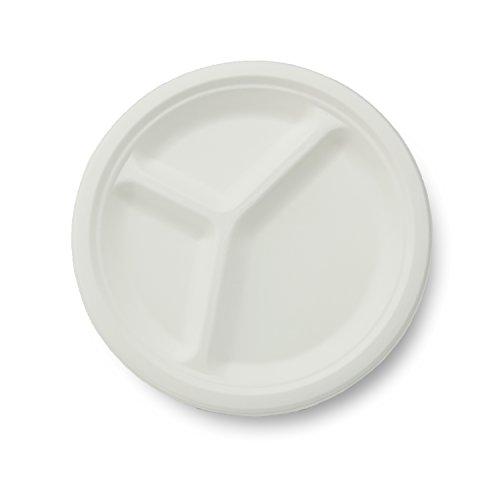 Stalkmarket 100% Compostable Sugar Cane Fiber 3-Compartment Plate, 10-Inch, 500 Count Case