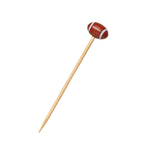 PacknWood Sports Themed Bamboo Pick Skewer, Football, 4.72