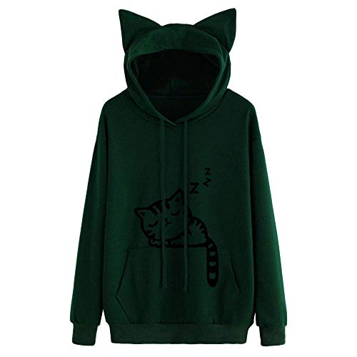 b03dfae9b9cf9 Cdon Women s Hoodie Pullover Sleeping Cat Autumn Winter Warm Sweatshirt(Army  Green-Medium)