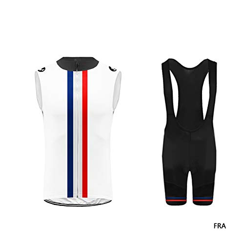 Uglyfrog-Vertical Line Design Men's Outdoor Breathable Sports Sleeveless Cycling Jersey and 3D Padded Braces Tights Bib Short Pants Vest Set UGUS19DJV08 - Cycling Jersey Coors