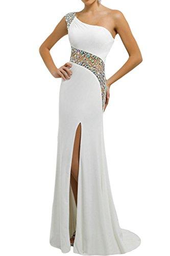 ivyd ressing Mujer Fashion Ranura piedras de un hombro vestido de fiesta Prom vestido para vestido de noche blanco