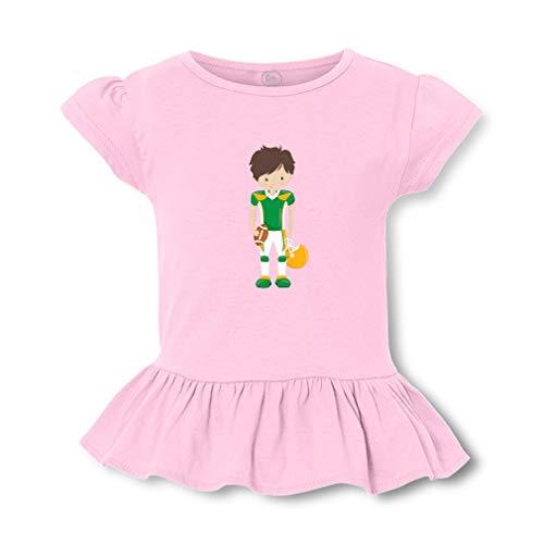 Green Yellow Boy Football Brown Short Sleeve Toddler Cotton Girly T-Shirt Tee - Soft Pink, X -