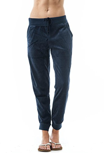 Slant Pocket (Khanomak Drawstring Velvet Velour Front Slant Pockets Casual Joggers Pants (Medium, Navy))