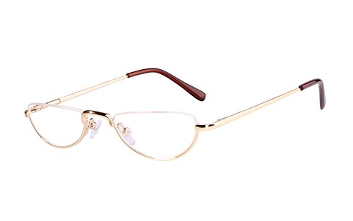 Beison Half Moon Readers Half Rimless Reading Glasses (Gold, - Half Spectacles