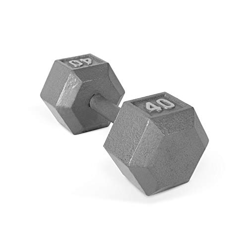 CAP Barbell Solid Hex Dumbbell, Single (40-Pound) (Cap Barbell 40 Pound Adjustable Dumbbell Set)