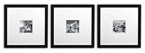 Golden State Art, Smartphone Instagram Frames Collection, Set of 3, 11x11-inch Square Photo Wood Frames with White Photo Mat & Real Glass for 4x4 Photo, ()