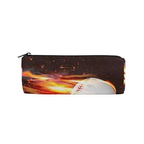 TropicalLife Fire Baseball Sport Pencil Case with Zipper Pen Pouch Makeup Bag for School Office