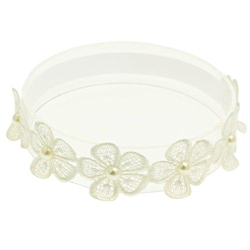 Baptism Headband for Baby Infant Toddler Girls Flower White Christening Headband (0-3 Months)
