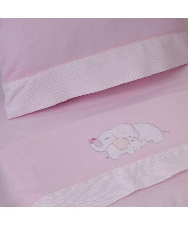 Lenzuola In Flanella Per Bambini.10 X Dieci Set Di Lenzuola Culla Flanella Elefante Rosa