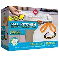 Price comparison product image Member's Mark Simple Fit Drawstring Kitchen Bags - 13 Gal - 150 Ct.