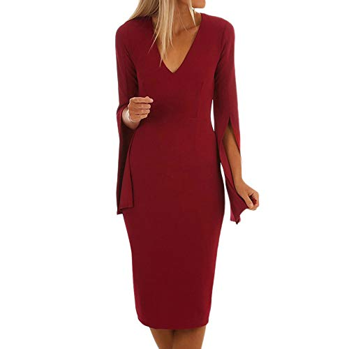 Hot Sales,DEATU Womens Dresses Ladies Flare Long Sleeve Skinny Slim Party Cocktail Sheath Sexy V Neck -