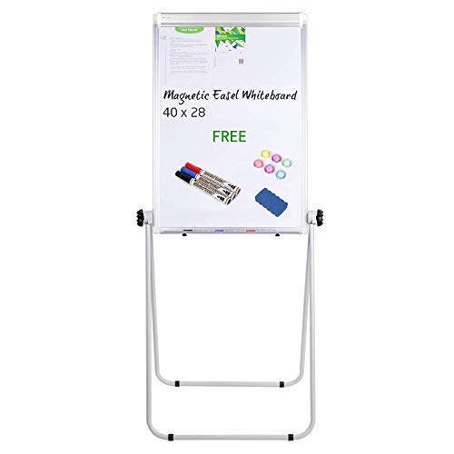 U-Stand Whiteboard - 40x28 inches Magnetic Whiteboard Double Sided Dry Erase Board, Portable Whiteboard/Flipchart Easel, Height Adjustable & 360 Degree Rotating w/ 1 Eraser, 3 Markers, 6 Magnets -