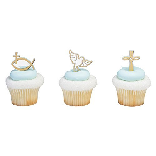 Party Cupcake Pics - Religious First Communion Spiritual Cross Baptism Cupcake Cake Topper Pics Party 24 Pieces