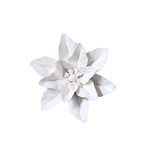 DM ALYCASO 3D Ceramics Flowers Wall Decor Wall Hangings Imitation Plant Home Decorative, WhiteM, Medium