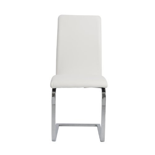 Eurø Style Cinzia Leatherette Side Chair with Chromed SledBase, Set of 2, White