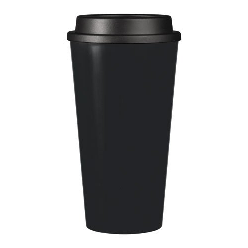 (Reusable To Go Hot & Cold Beverage Tumbler - Double Wall with Sip Lid - 16oz. Capacity - Black)