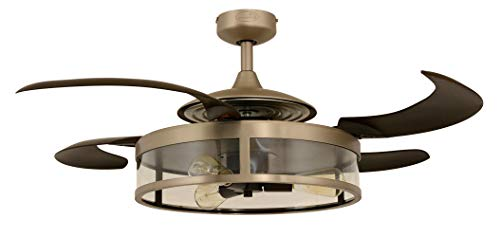 3 Nickel Light Matt - Fanaway 212928010 Classic Retractable 4 Blade Indoor Ceiling Fan with Dimmable LED Light Kit and Remote Control, 48 Inch, Matt Nickel and Espresso