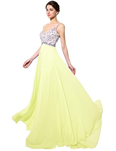 Gown Shoulder Yellow House Evening Prom One Dresses Belle Chiffon Women's Long HAJ042 RZgnCw