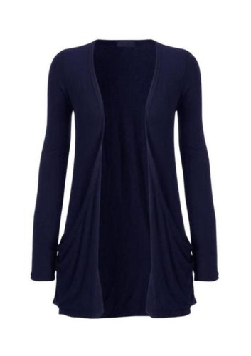 Hot Hanger Ladies Plus Size Pocket Long Sleeve Cardigan 16-26 : Color – Navy : Size – 16-18 LXL
