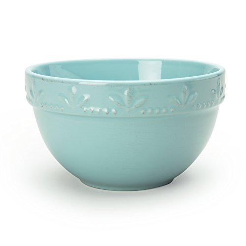Signature Housewares Sorrento Collection Set of 4 Utility Bowls, 6-Inch, 30 Ounce, Aqua