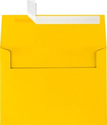 LUXPaper A7 Invitation Envelopes for 5 x 7 Cards in 80 lb. Sunflower, Printable Envelopes for Invitations, w/Peel and Press Seal, 50 Pack, Envelope Size 5 1/4 x 7 1/4 (Yellow)