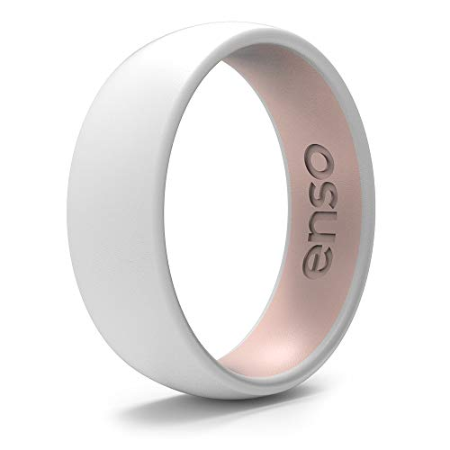 Enso Rings Dual-Tone Silicone Ring | The Premium Fashion Forward Silicone Ring | Hypoallergenic Medical Grade Silicone | Lifetime Quality Guarantee (White & Pink Sand, 7)