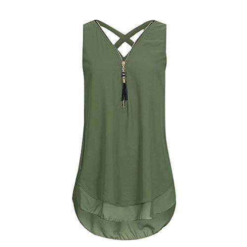 Sunhusing Women's Layed Zipper Stitching Back Cross Bandage Lace-Up Sleeveless Vest Tank Tops Green ()