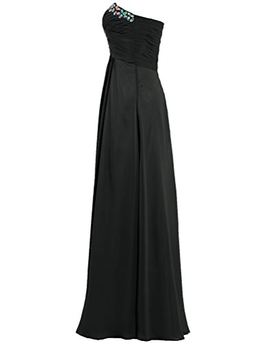Bead Women's Evening Strapless Prom Black Dresses ANTS Gowns Chiffon Long RE4Oqnw1x