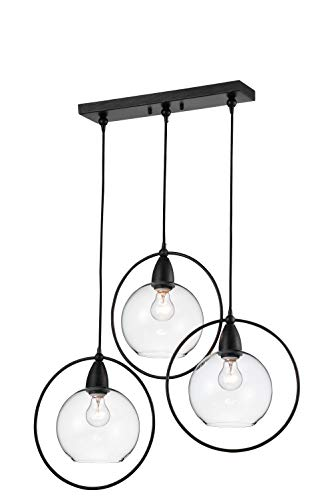 jojospring Luna Antique Black 3-Light Clear Glass Globe Iron Loop Pendant (Luna 3 Light Pendants)
