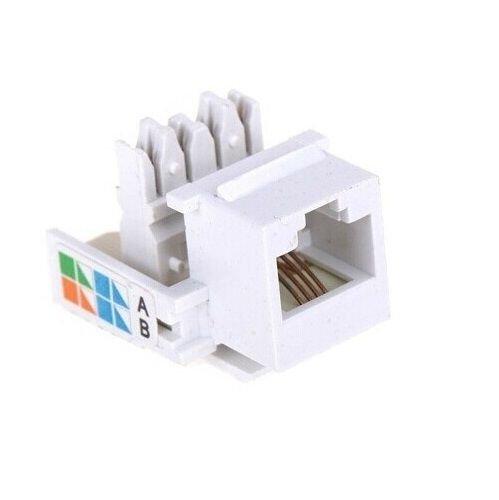 FYL 4 Pcs CAT3 RJ11 6P4C Phone Telephone Keystone Jack CAT 3 110 Style Modular White