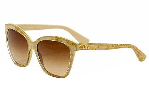 D&G Dolce & Gabbana Women's 0DG4251 Square Sunglasses, Leaf Gold On Ivory, 57 - Dolce Gold Leaf And Gabbana Sunglasses