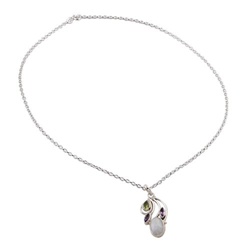 - NOVICA Multi-Gem Rainbow Moonstone .925 Sterling Silver Pendant Necklace, 18
