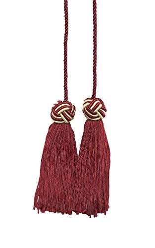 Cherry Red, Light Gold Double Tassel / Tassel Tie with 3.75 inch Tassels / Spread 27