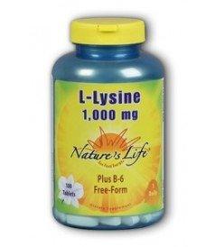Nature's Life L Lysine , 1000 Mg, Plus B 6 Free Form, 100 Tablets