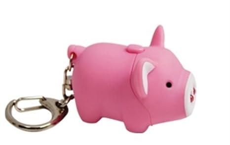 Amazon.com: 2.25 inch cerdo Nariz Llavero con luz LED y ...