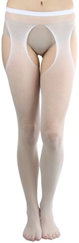 ToBeInStyle Women's Fishnet Suspender Seamless Pantyhose - White