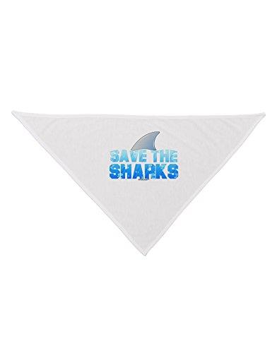 [TooLoud Save The Sharks - Fin Color Printed White Dog Bandana 26