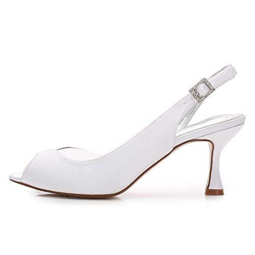 L@YC Damen-Hochzeits-Schuhe ML17061-31 Damen-Mittlere Niedrige Partei-Abschlussball-Sandelholz-Schuhe/Hochzeitsschuhe Gewohnheit White