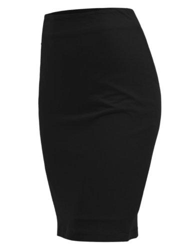 Doublju Women Basic Designed Various Colors H-line Skirt BLACK,XL