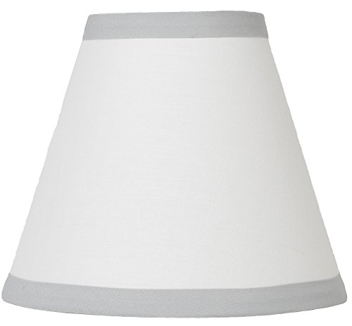 Urbanest Off White Cotton Chandelier Lamp Shade with Gray Trim, 3-inch by 6-inch by 5-inch, Clip-on, Hardback