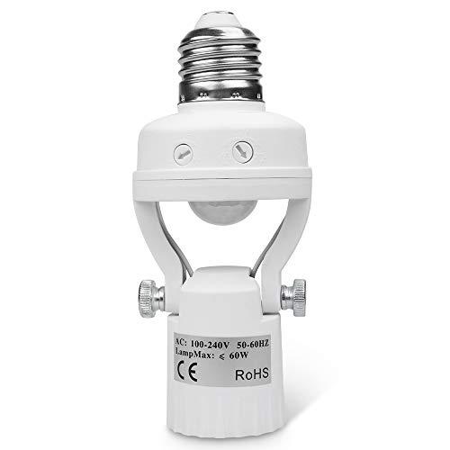 8T8 Motion Sensor Light Socket, PIR Motion E26 Screw Bulb Adapter, Adjustable Auto On/Off Night Light Control Smart sensor bulb adapter for Storage Room, garage light (Manual Sensor_1)