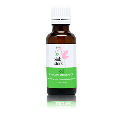 Pink Stork Oil: Organic Peppermint Essential Oil -Block Trigger Odors for Morning Sickness Relief -Soothing & Energizing -Therapeutic Grade -Help with Headaches, Stress, Energy, (Flakes 1 Ounce Tube)
