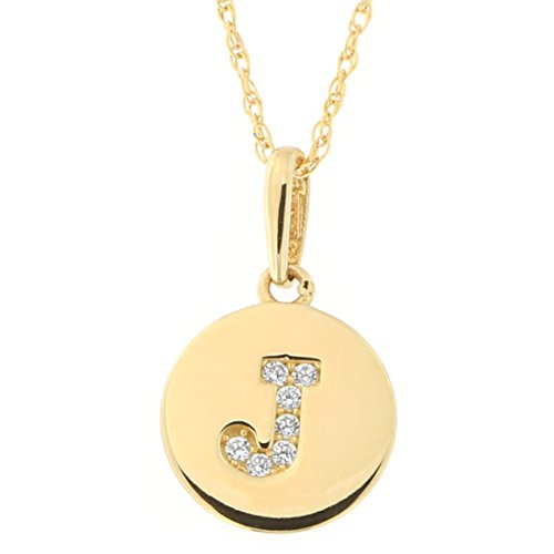 14k Yellow Gold Cubic Zirconia Tiny Round Disc Initial Necklace, J, 18 Inches ()
