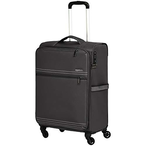 - AmazonBasics Lightweight Luggage, Softside Spinner Travel Suitcase with Wheels - Black