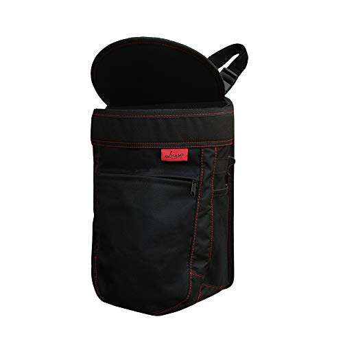 Lusso Gear Car Trash Can | Vinyl Leakproof/Removable Trash Liner - Large 2.5 Gallon Capacity - Flip Open Lid - Compact Design - Storage Pockets - Easy Hanging or Mounting In Car/Truck/Minivan/SUV/Auto