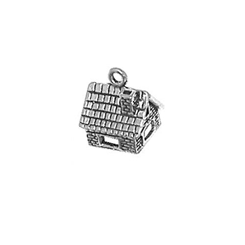 Sterling Silver 3D Stone House Charm Item #151