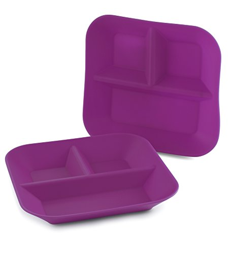 Made in The USA - 2-Pack - Silicone Plates for Babies & Kids by Kiddiebites - Purple BPA, BPS, PVC, Phthalate, Cadmium, and Lead Free, FDA Approved Silicone, Divided Child's Placemat Set (Plum)